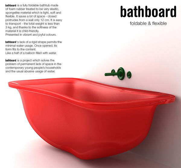 Baño Portatil Pequeno:Un diseño original de bañera que además de resolver problemas de