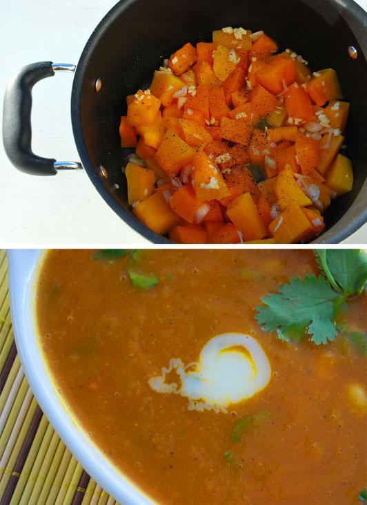 Marokańska zupa z dyni z białą fasolą i przyprawami