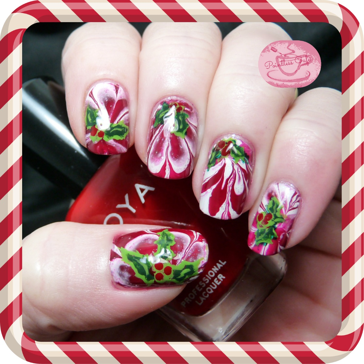 Peppermint-and-Holly-Nail-Art