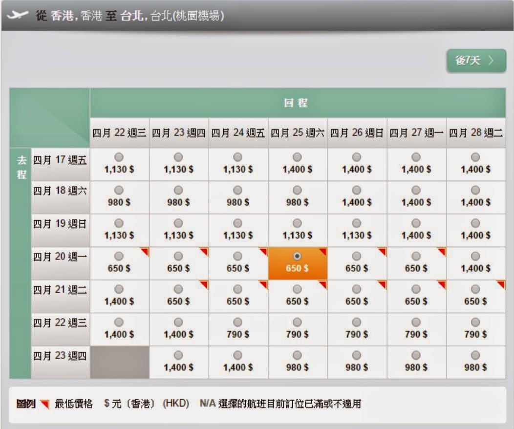 長榮航空香港往返台北$650起(連稅$941)