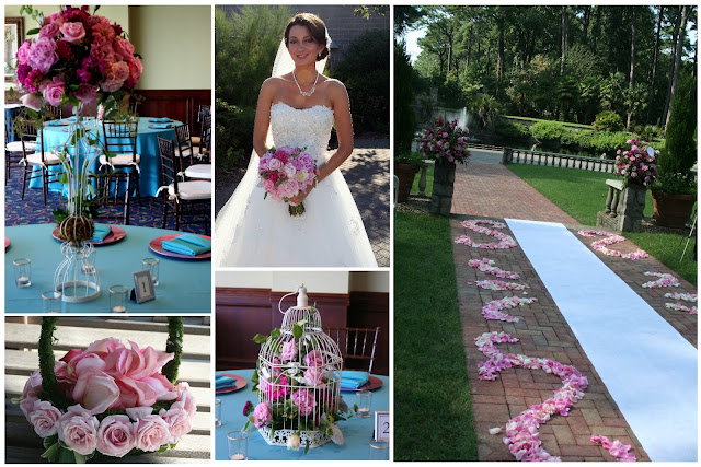 Pink, peony, Norfolk Botanical Garden, Isha Foss Events, aisle petal design, bird cage centerpiece