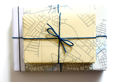 nautical chart gift wrap idea with simple yarn bow from Concertina Press