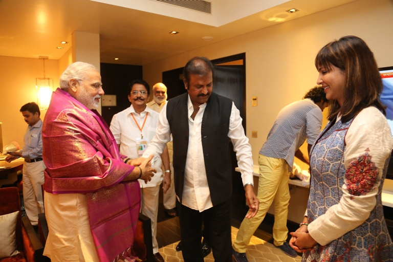 manchu family with narendra modi photos manchu mohan babu vishnu