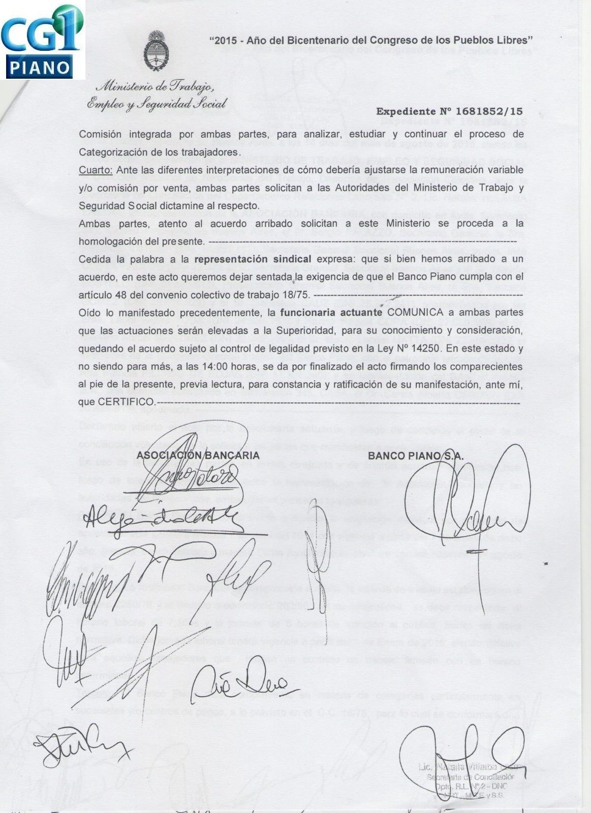Comision gremial interna banco piano for Casa piano sucursales
