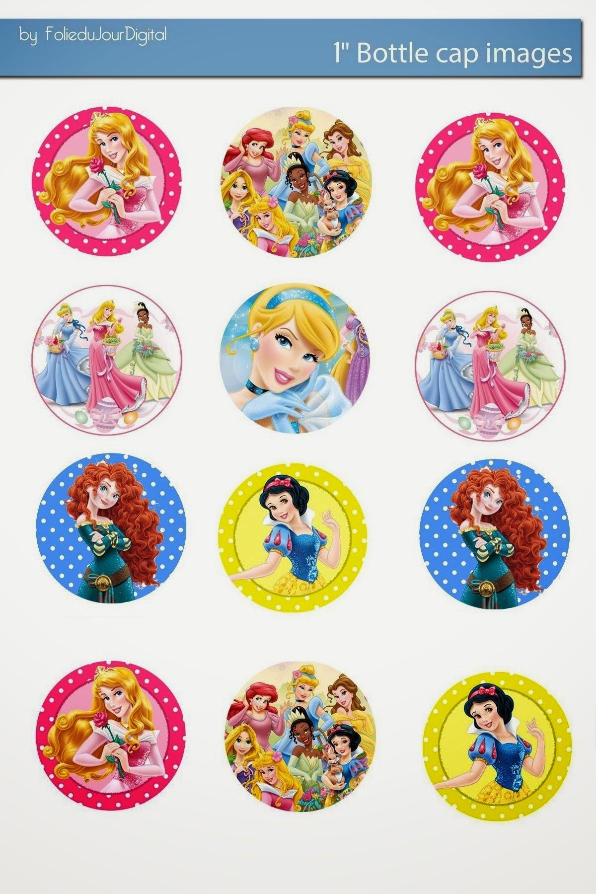 Free Bottle Cap Images Disney Princess 1 Inch Free