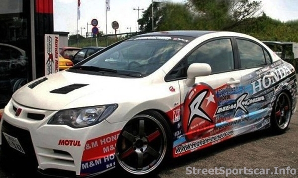Custom White Honda Civic With Racing Decals And Paint - Honda civic decal stickers