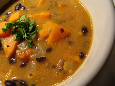 Spicy Sweet Potato and Peanut Soup with Black Beans