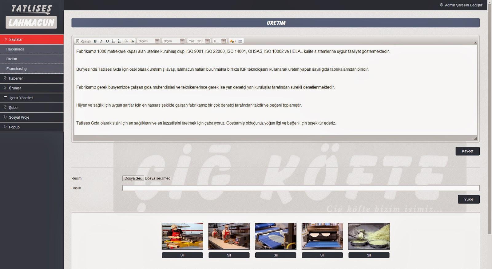 Tatlıses Lahmacun Web Tasarım - Responsive Admin Paneli Detay