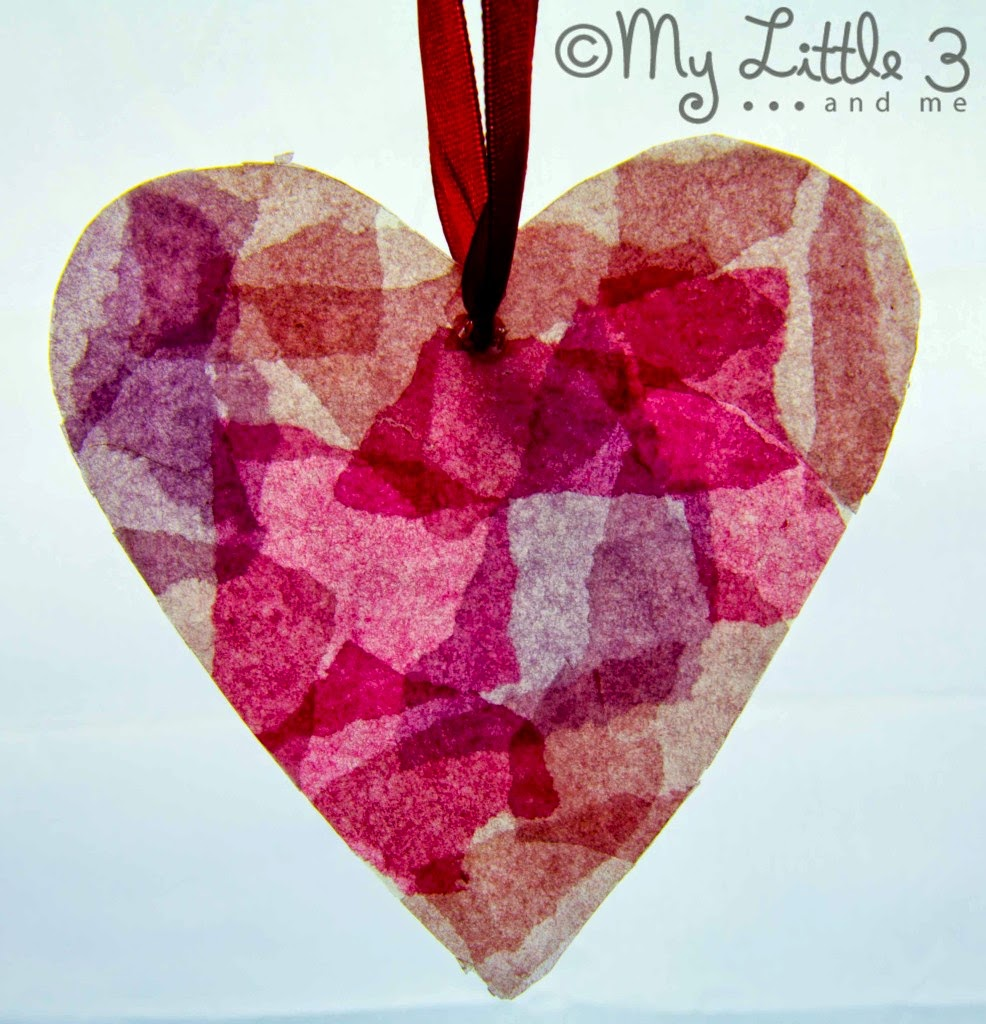 recycled Stained Glass Heart craft