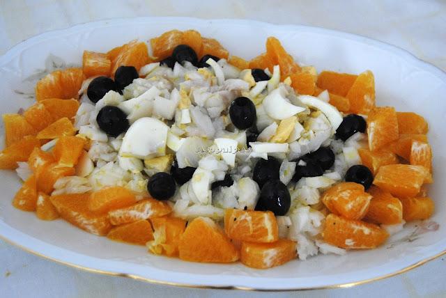 Ensalada de Naranja, Bacalao y Huevo duro