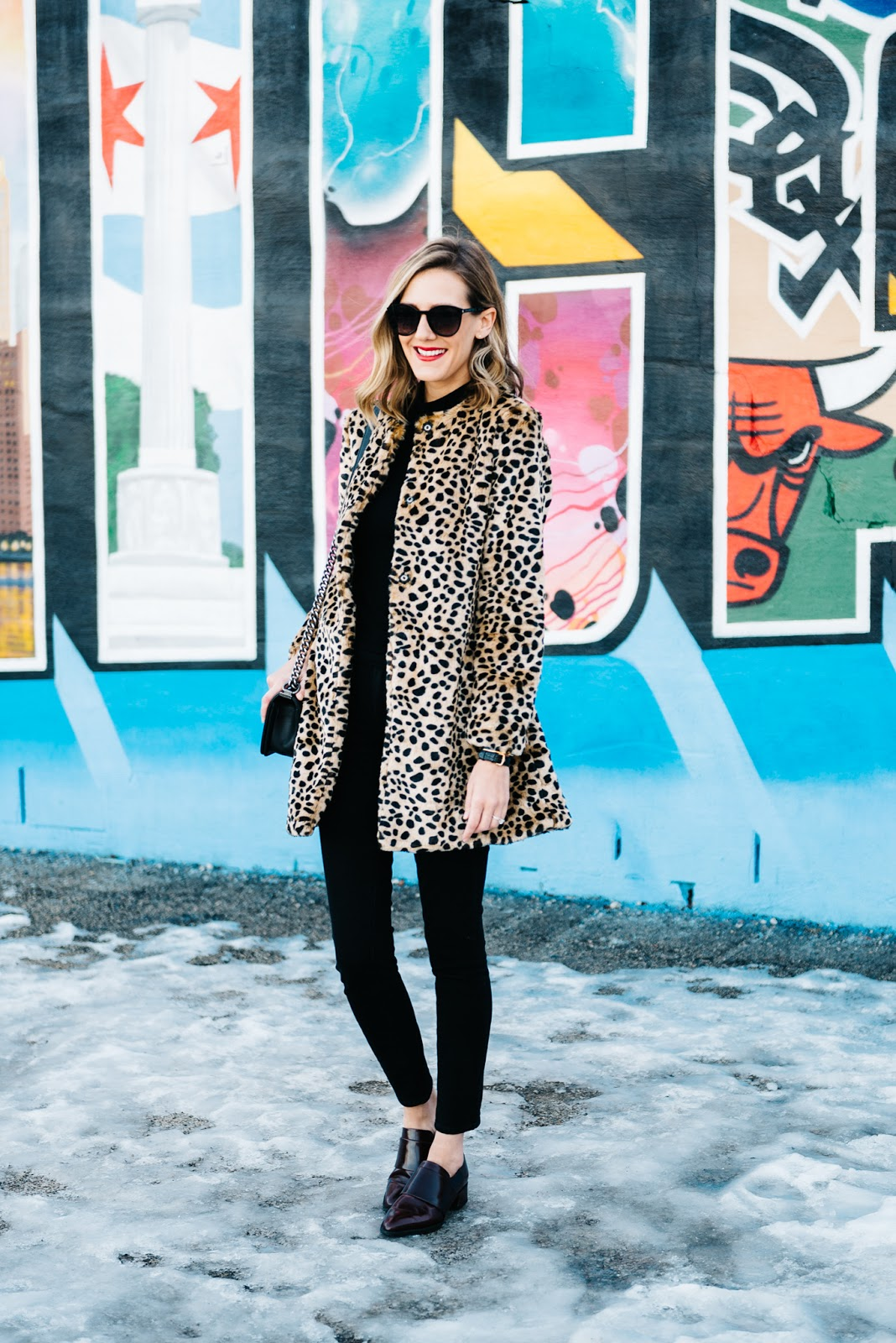 all black leopard coat