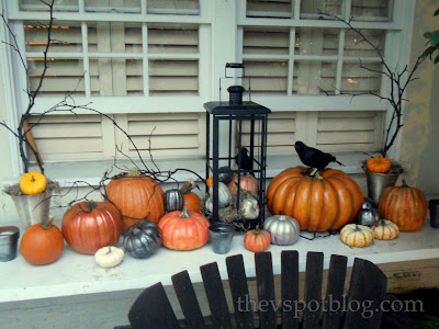 Halloween pumpkins and raven