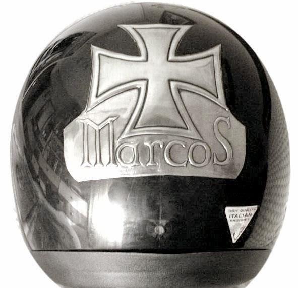 Placa casco moto custom (Marcos) | ArteyMetal