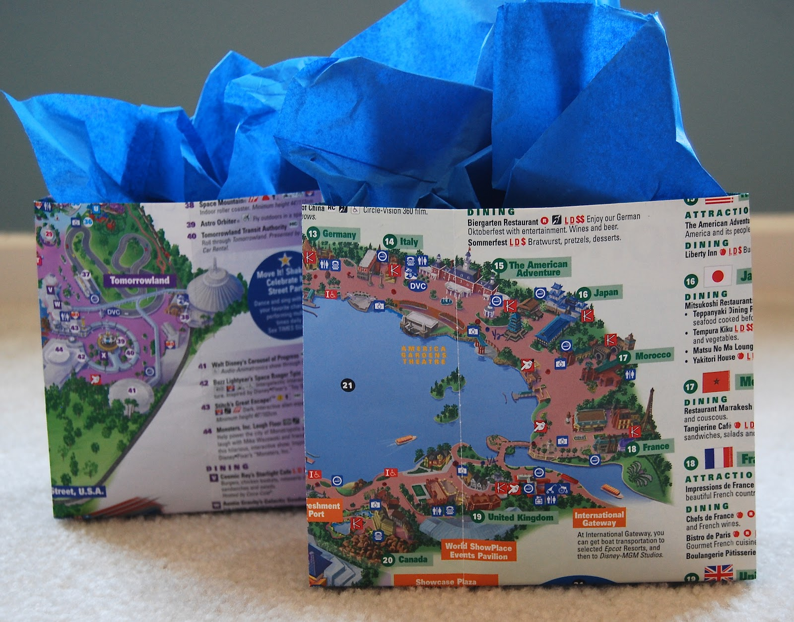 Merryweathers cottage diy disney gift bag from upcycled park map diy disney gift bag from upcycled park map gumiabroncs Image collections