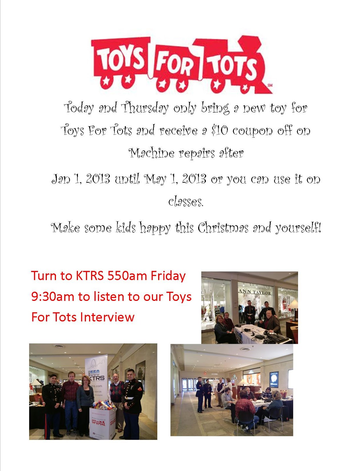 Toys For Tots Drive : Heyde sewing machine co toys for tots drive