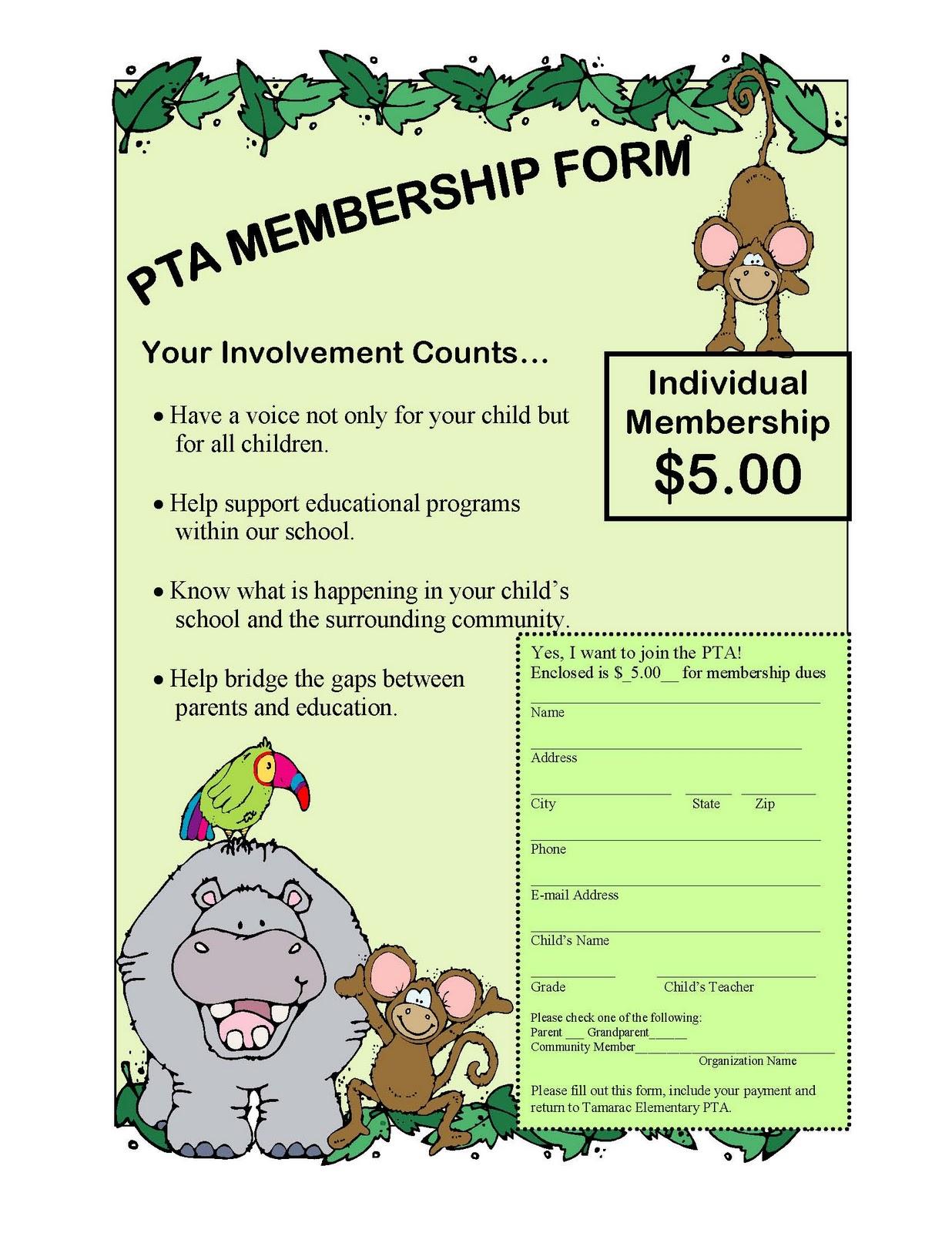 pta membership form template