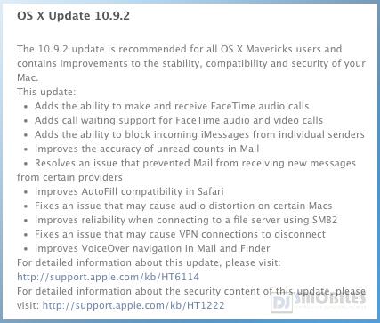 Mac OS X 10.9.2 update changelog