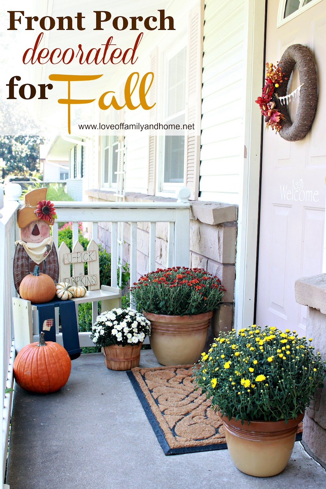 Front porch decorated for fall love of family home Small front porch decorating ideas for fall