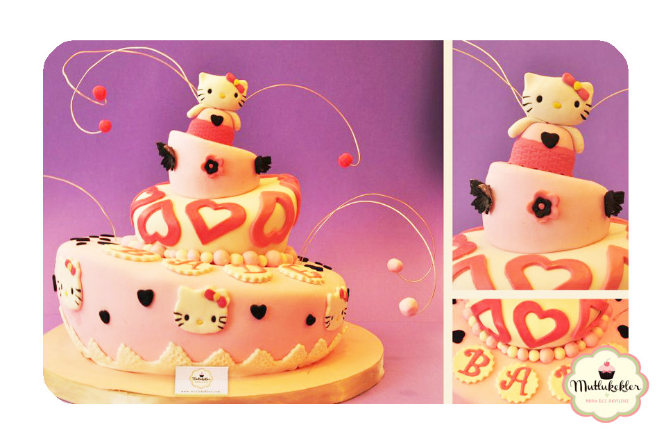 Sevimli bade nin hello kitty doğum günü pastası afiyet olsun