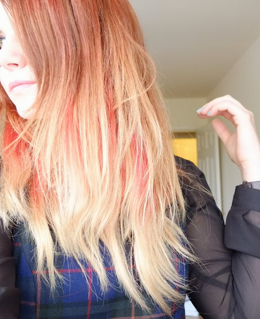 dip dye ombre red and blonde hair