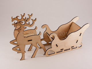 1/24th Reindeer & sleigh laser cut kit