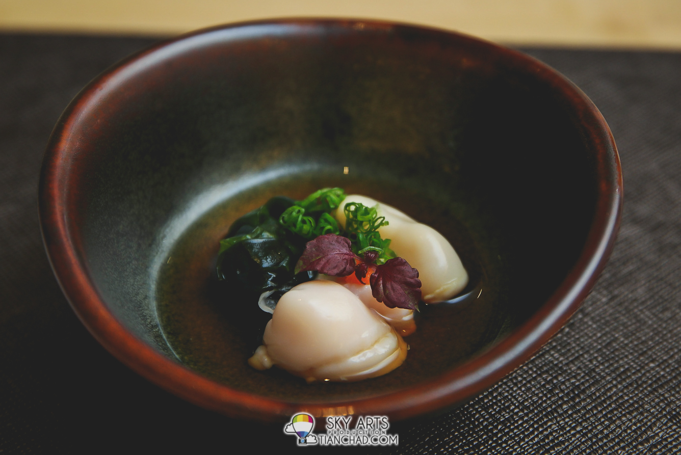 Appetiser: Parboiled Red Snapper Soft Roe with Ponzu Sauce