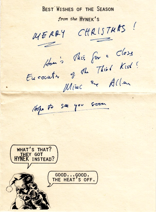 Rare UFO Xmas Card from J. Allen Hynek to Henry McKay (Back of Card)