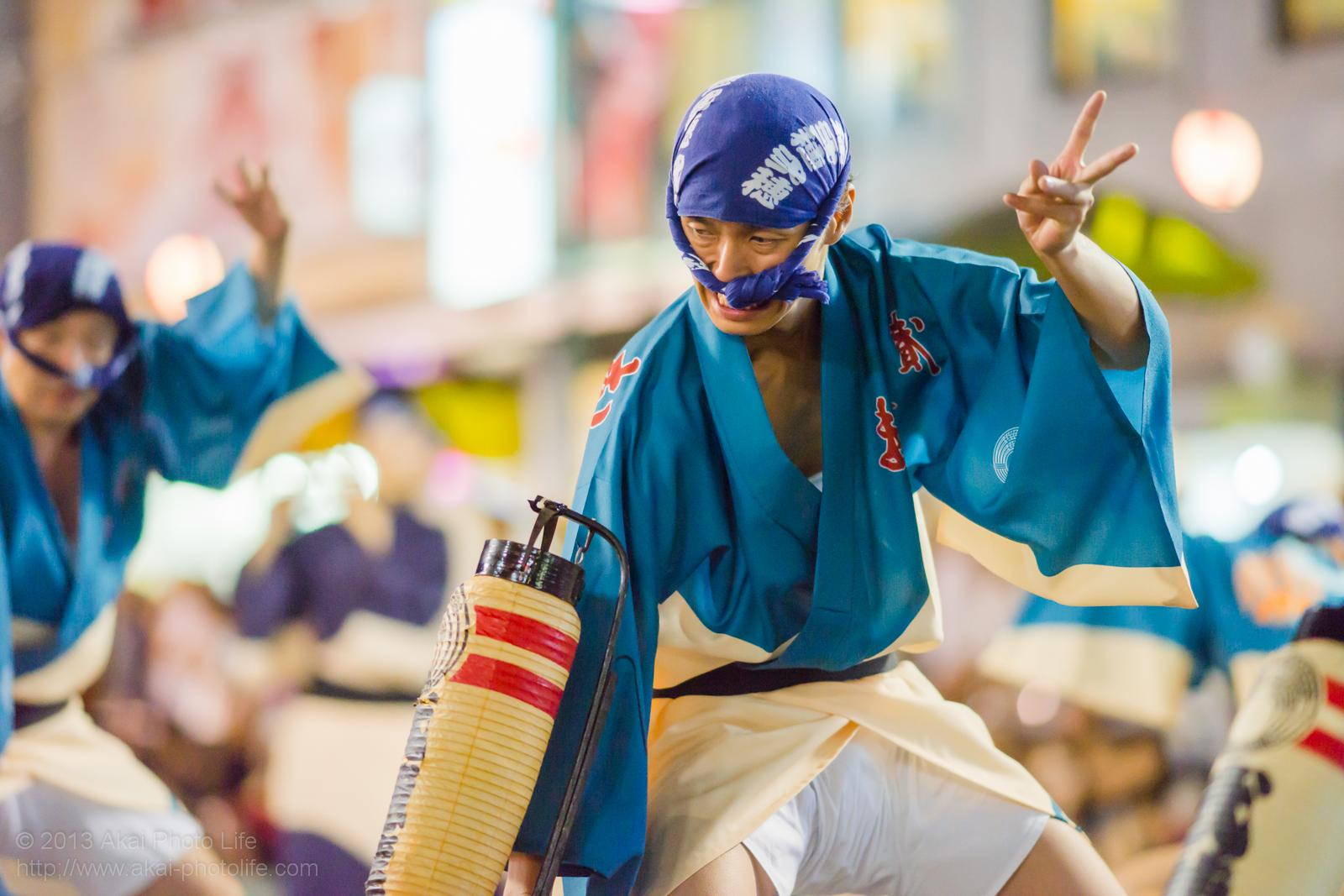 踊れ西八夏まつり、弐穂連の提灯を使った男踊り