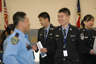 Cadets from Zhejiang Police College meet officers from the Houston Police Department.