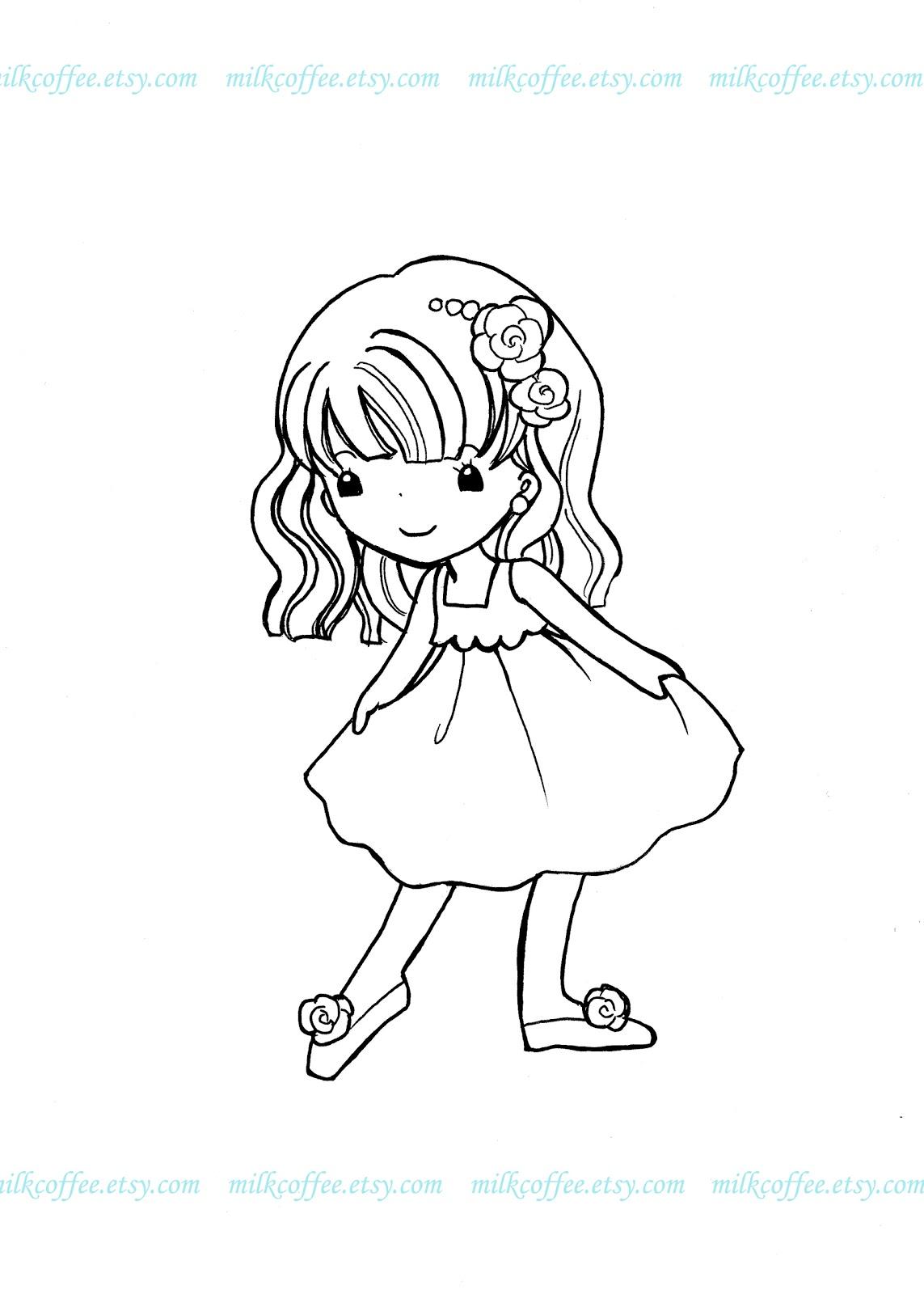 Coloriage de petite fille liberate - Dessin de fille ...