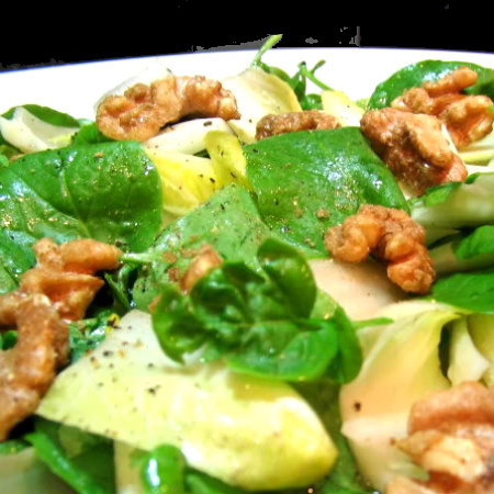 Salad: Endive, Pear and Watercress Salad with Candied Walnuts