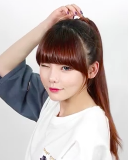Cute Asian Korean Style Pony Tail for Long Hair Tutorial