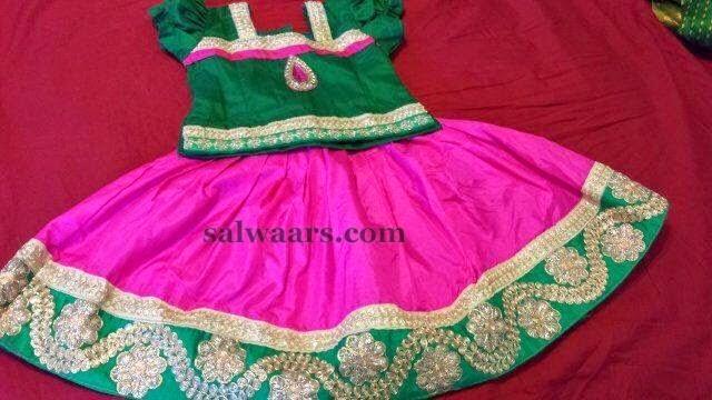 Fuschia Pink Silk Kids Skirt