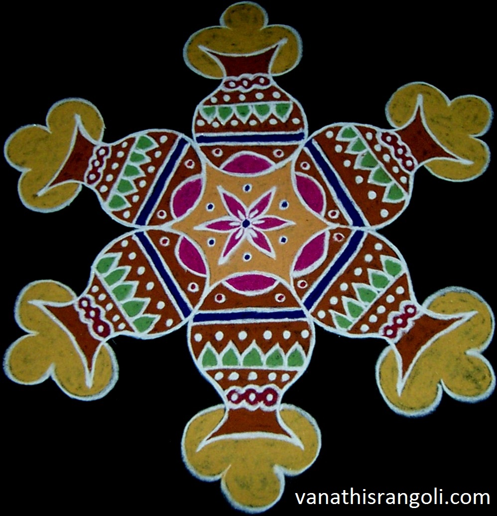 Step 7: For Pongal pot use Brown or Kavi that will suit to Pongal pot ...