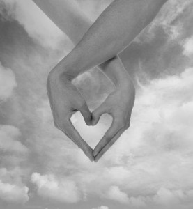 picture of love: love heart with two hands