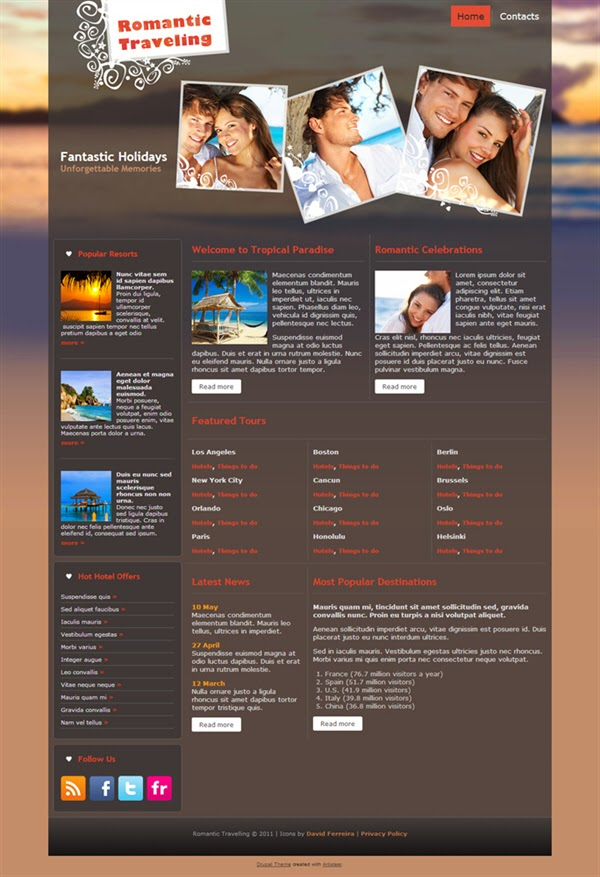 Romantic Travelling - Free Drupal Theme