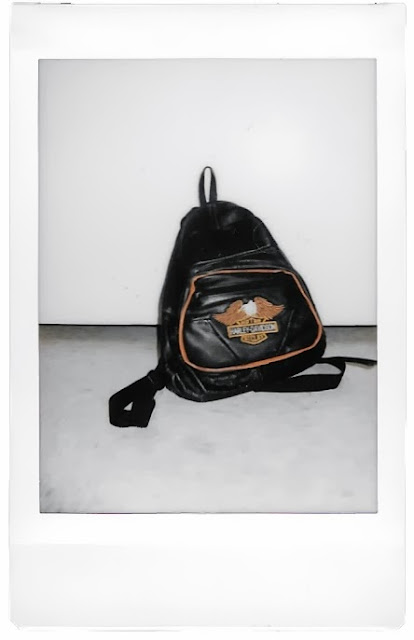 Polaroid photo of a Harley Davidson Vintage Leather Backpack