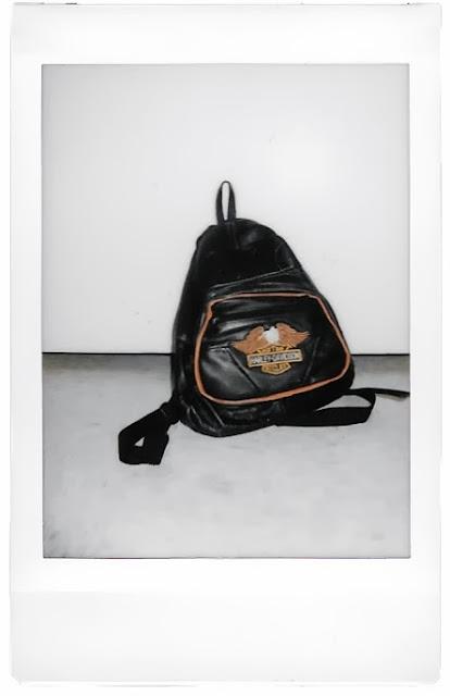 Polaroid photo of a Harley Davidson Vintage Leather Backpack