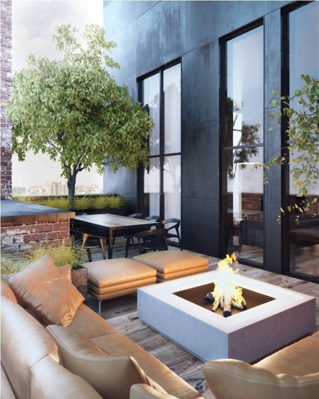 Penthouse terrace with fireplace