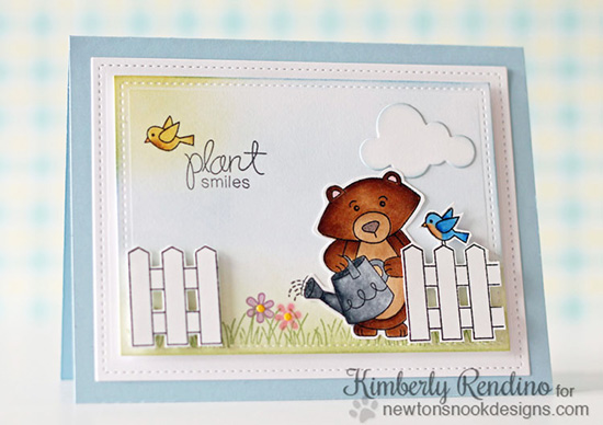 Plant Smiles Bear Garden Card by Kimberly Rendino | Garden Whimsy | Garden Stamp Set by Newton's Nook Designs