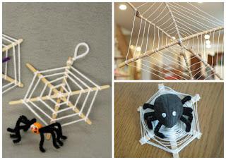 как сплести паутину из веток и ниток