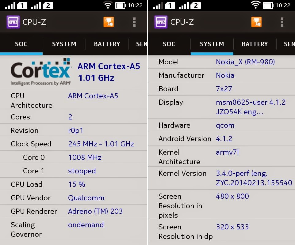 Nokia X Unboxing, Preview And Initial Impression CPU Z Info