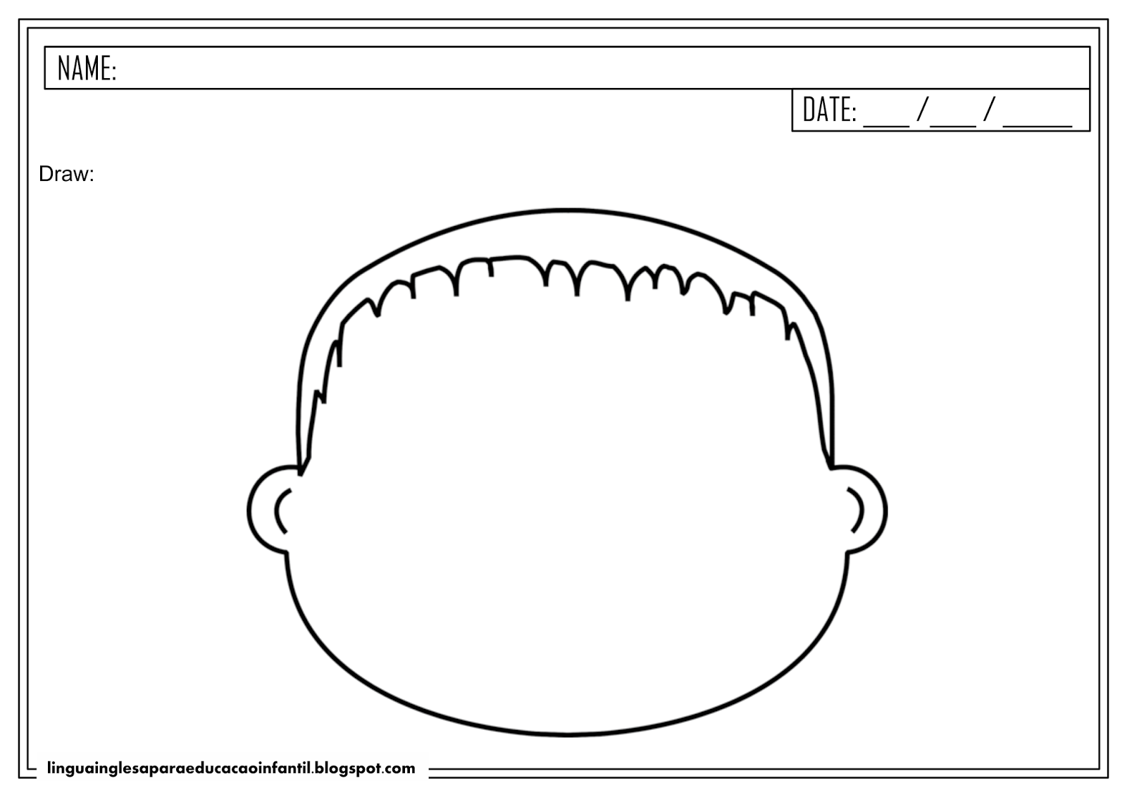 Atividade de inglês - Corpo humano para educação infantil