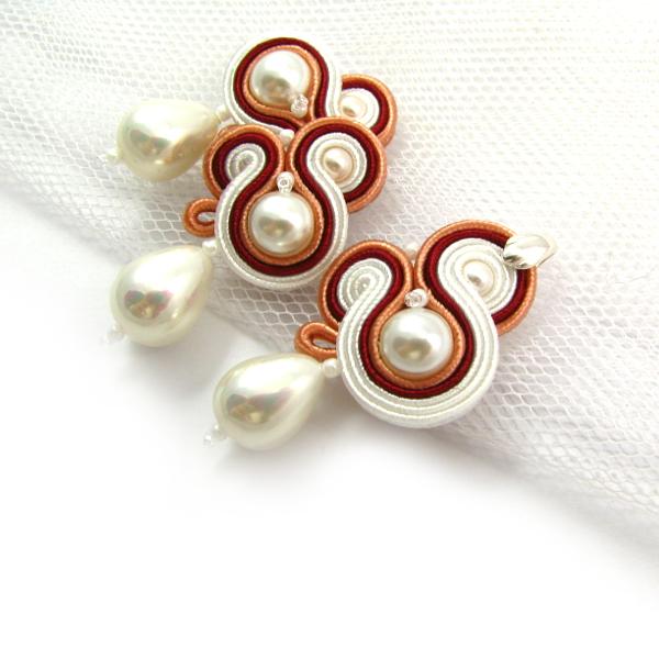 Sutaszowy komplet ślubny z perłami
