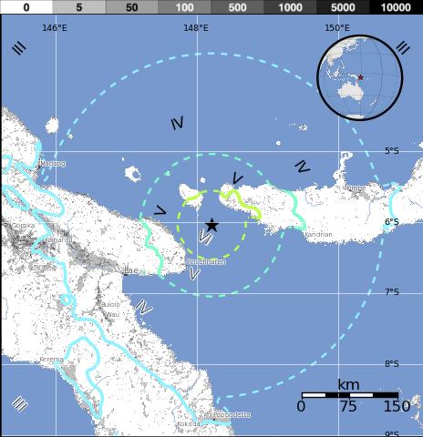 Epicentro sismo Papúa Nueva Guinea, 7 de Noviembre 2014