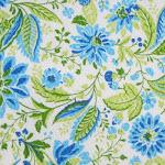 Tela - Flores verdes y azules