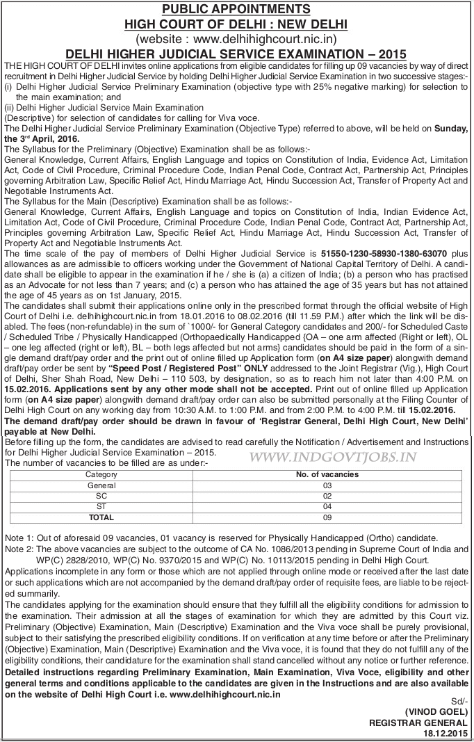 High Court of Delhi Recruitment 2015-16