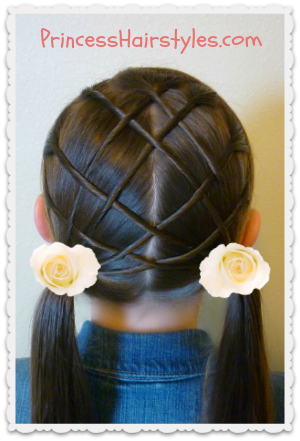 Woven lattice pigtails video tutorial