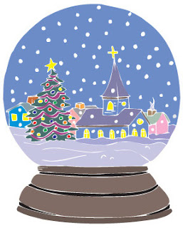 Decorated Merry Christmas tree at the church inside the snow globe with snow background clip art picture