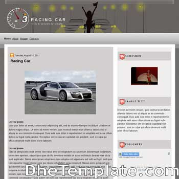Racing Car blogger template. simple blogspot template